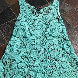 Body Central Teal Lace Blouse Sz Small